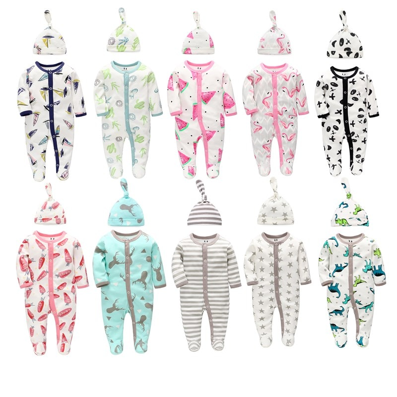 1 Set Newborn Baby Clothes Rompers Infant Overalls Bodysuit Baby Boy Girl Cotton Clothing Roupas Costume Pajamas Sleepwear +Hat