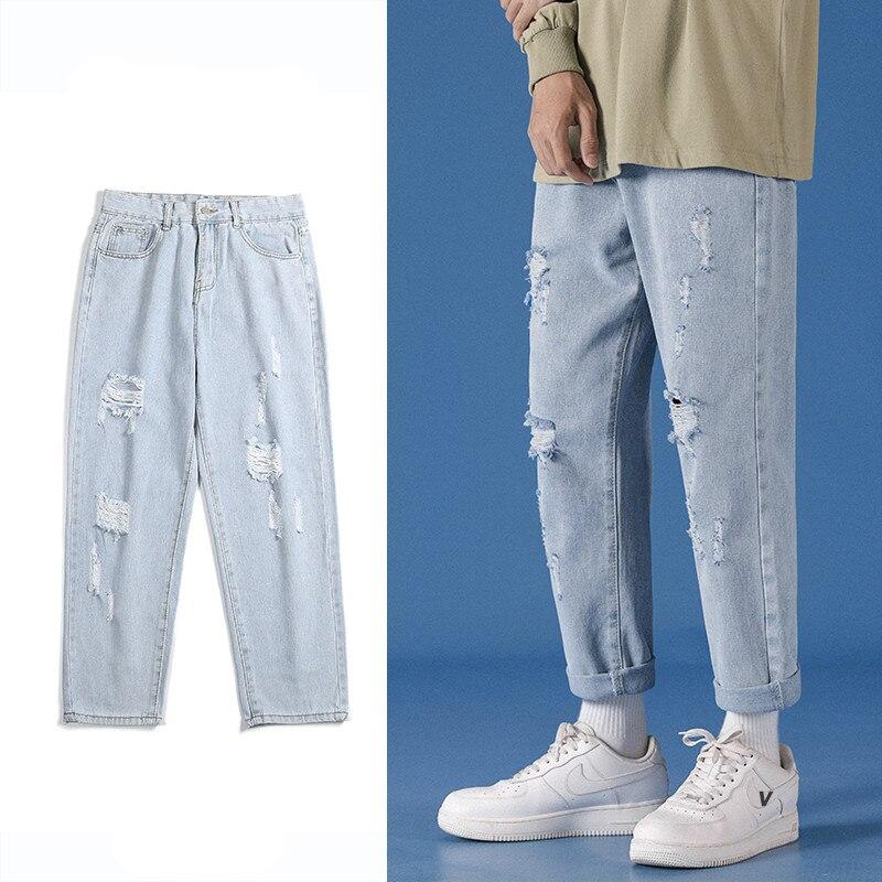 Мужские зауженные джинсы с вышивкой, рваные зауженные джинсы из денима с дырками, байкерские джинсы с вышивкой, модель 36, 2021