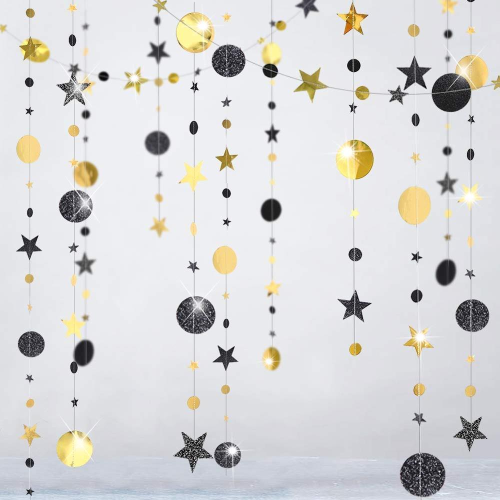 Guirnalda de Papel negro con purpurina dorada y pequeña estrella circular para fiestas, banderines para bodas, cumpleaños, Baby Shower