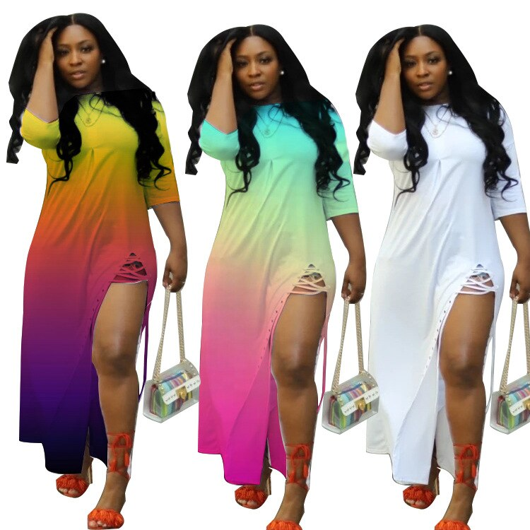 2020 Mulheres verão Vestido Estilo Hot Modelo Solid-cor Gradiente Imprimir Dividir Lace Up Europeus e Americanos Solta Maxi vestido