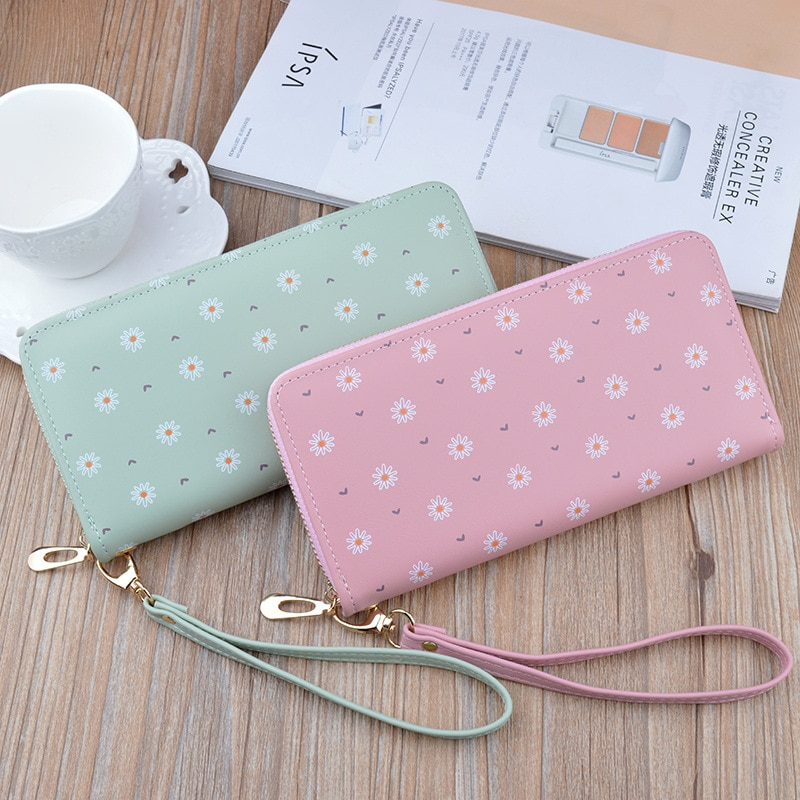 Floral Women Wallets Solid Color Zipper Coin Purses Female Long Large Capacity Pu Leather Card Holde