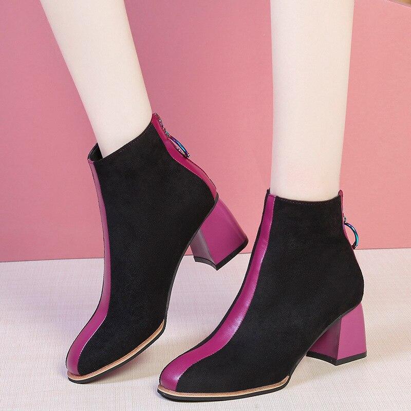 Botas de moda feminina sapatos de inverno 2020 ins salto alto botas sexy senhoras festa de inverno sapatos salto quadrado 6cm a1991