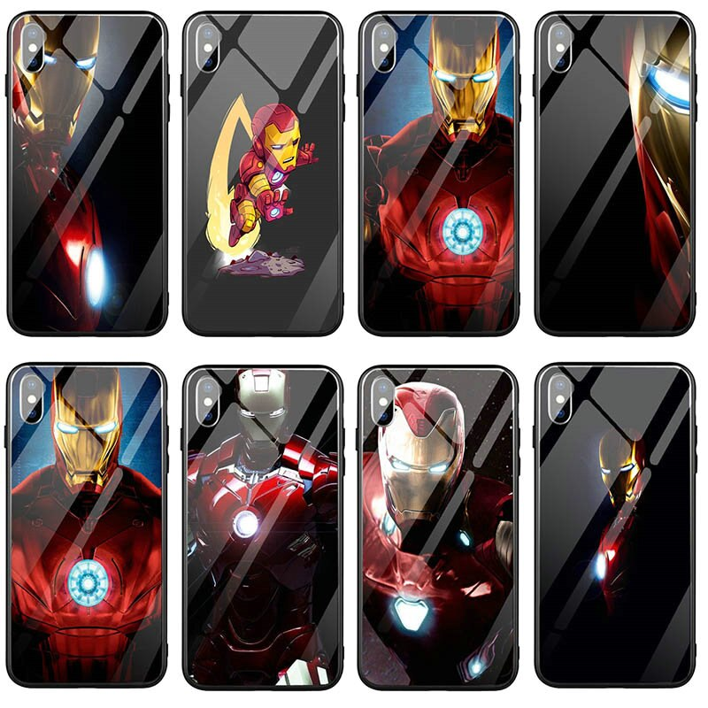 Teléfono Móvil de vidrio templado para iPhone X XR XS 11 Pro Max 8 7 6 6S Plus bolsas de El Hombre de Hierro Robert Downey Jr diseño