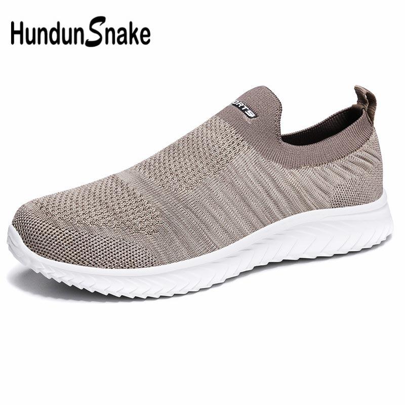 Grande taille été sans lacet hommes chaussures de Sport dété hommes baskets chaussettes respirant chaussures de course hommes chaussures Sport Beige D-424 de Sport