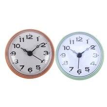 2x2.75 Cal wodoodporna kuchnia łazienka wanna prysznic lustro zegar ssania Sucker kolor ściany pomarańczowy i zielony