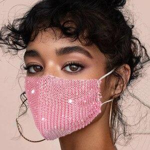 Unisex Fashion Jewelry Mask With Shinny Rhinestones decoration Face Cover Washable Breathable Cotton Jewelry Mask Mascarillas