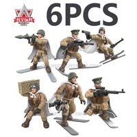 wwii 2 military soldiers us ussr russian army weapon world war battle action figures blocks weapon building bricks fit mega