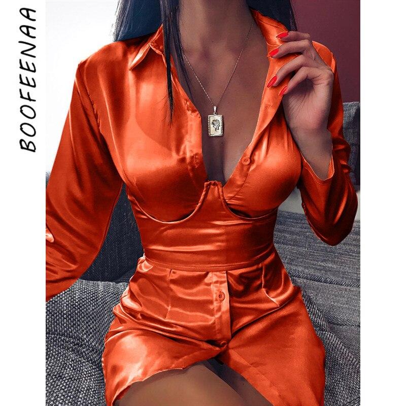 BOOFEENAA العميق الخامس الرقبة طويلة الأكمام قميص فستان زنار البرتقال النيون الحرير الحرير مثير ليلة نادي فستان الحفلات الخريف الملابس C70-AE49