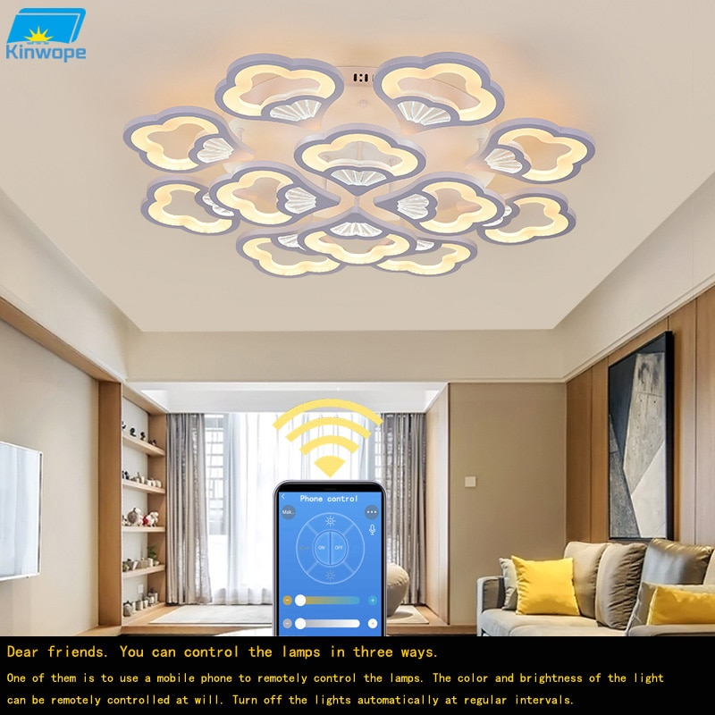Kinwope Modern Atmosphere Led Living Room Dining Bedroom Ceiling Lamp Ginkgo Shape Household Warm