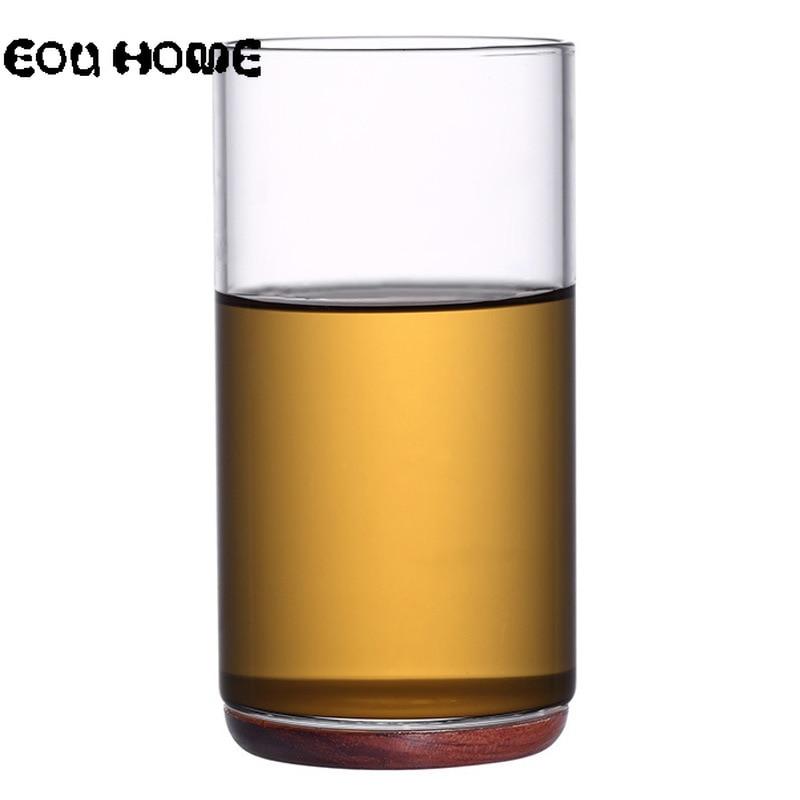 Vaso transparente resistente al calor taza de té Kung Fu creativa base de madera transparente doble pared taza para café o leche beber verde saludable