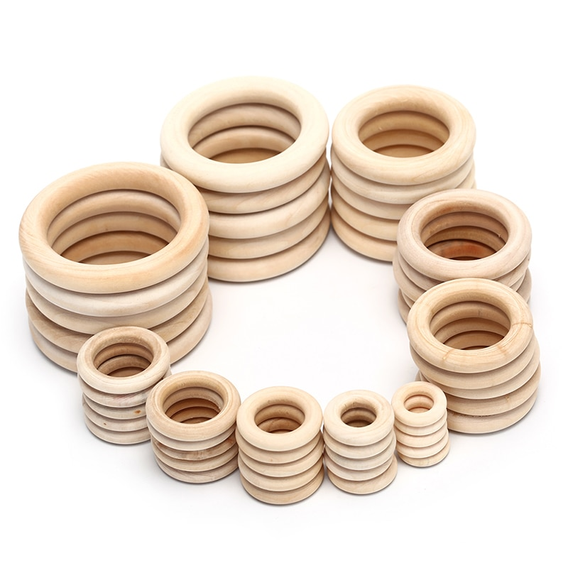 10/20/50pcs Natural Wood Teething Beads Wooden Ring Children Kids DIY Wooden Jewelry Making Crafts D