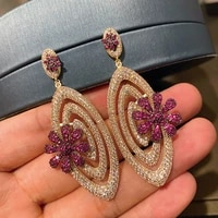 2021 new trendy golden full diamond flower earrings for female summer earrings jewelry accessories europe and the united state