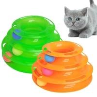 three levels pet cat toy tower tracks disc training amusement plate cat intelligence amusement triple disc cat toys ball