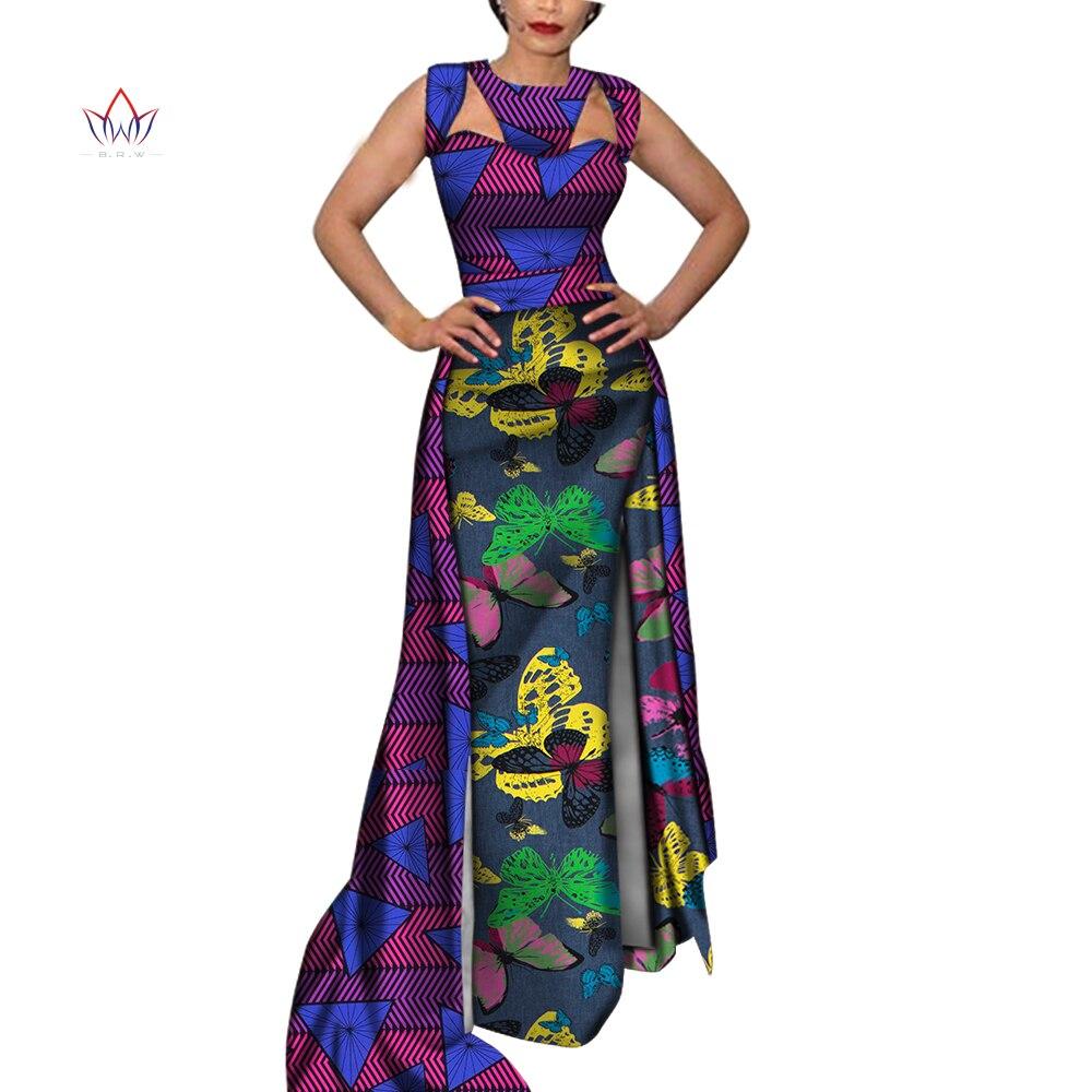 Vestidos para as Mulheres Dashiki sem Mangas Roupas para Senhora Vestido para Festa Africano Longo Doce Tradicional Wy5818 Brw Oco