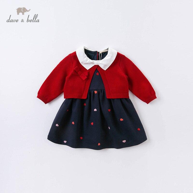 DBM14515 ديف بيلا الخريف طفلة لطيف القوس التطريز سترة اللباس الأطفال أزياء حزب اللباس الاطفال الرضع لوليتا الملابس