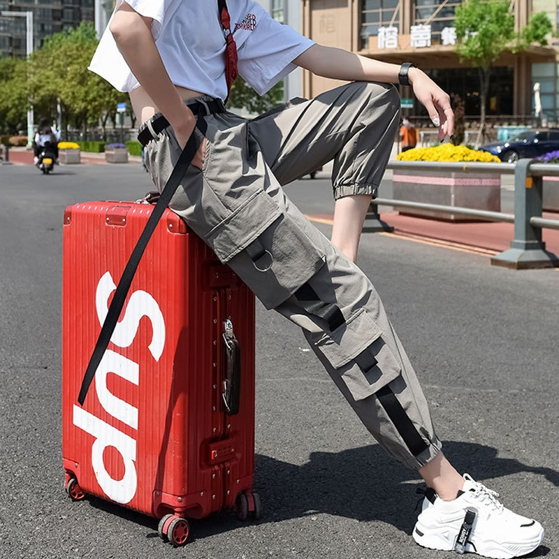 Женские модные брюки-карго длиной до щиколотки, уличная одежда, джоггеры с эластичным поясом, женские свободные брюки, повседневные брюки р...