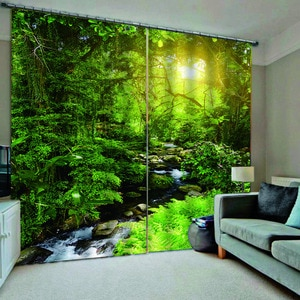 Custom Fashion Blackout Curtain forest scenery Photo Print 3D Curtain Modern Nature Scenery Drapes Cortinas