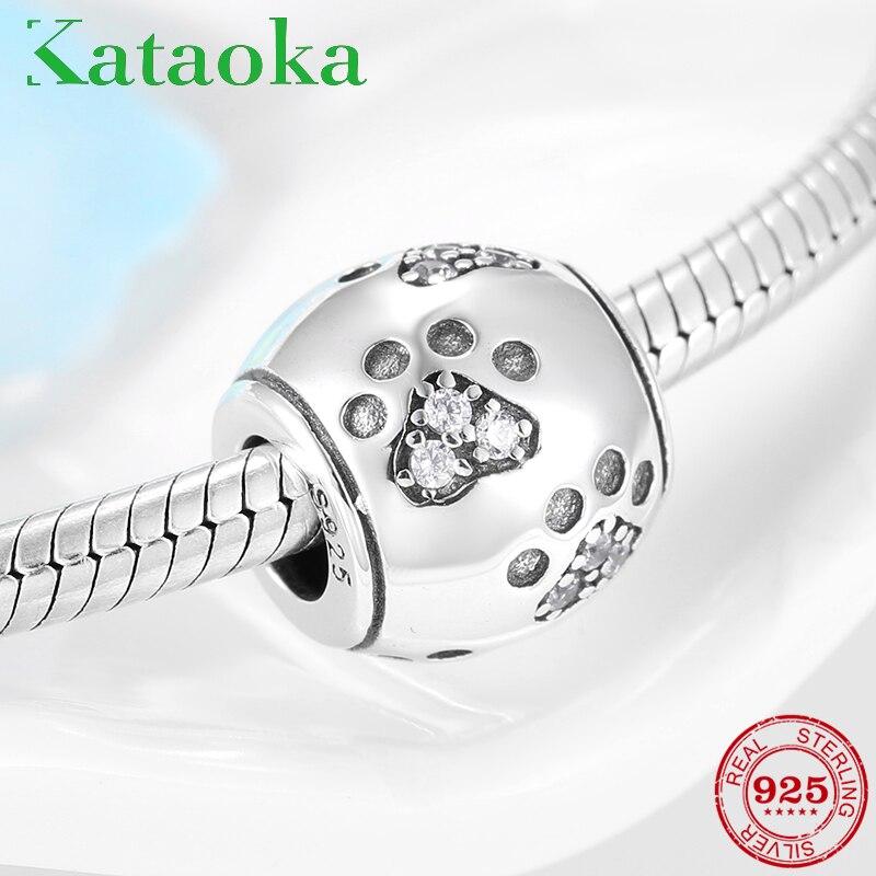 Fashion New 925 Sterling Silver Animal Dog Footprint Charming CZ beads fit Women Pandora Bracelet DIY Jewelry 2019