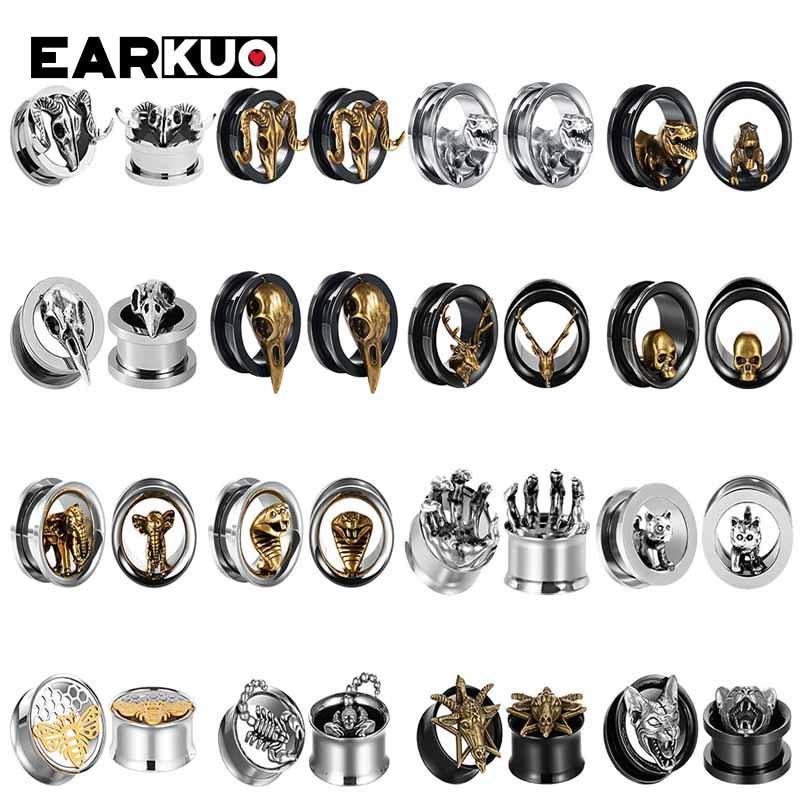 Ушные туннели EARKUO, Модный популярный товар из нержавеющей стали с заглушками для ушей, ювелирные изделия для пирсинга, винты для расширител...