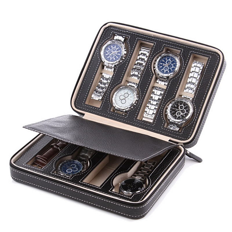 High Level 8 Grids Leather Watch Box Luxury Zipper Style For Travelling Storage Jewelry Watch Collector Cases Organizer Box