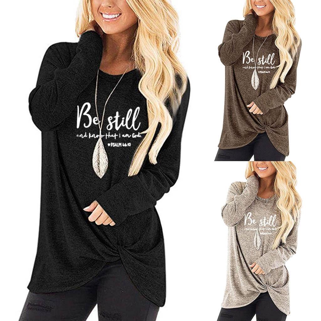 Mujer cuello en O manga larga de punto camisetas suelto dobladillo Irregular camisetas футболка женская t camisa camiseta