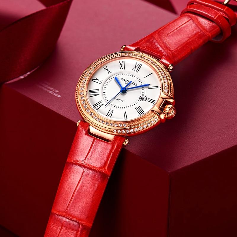 CARNIVAL Top Brand Women Fashion Rose Gold Watches Ladies Waterproof Luxury Sapphire Calendar Quartz Wristwatch Relogio Feminino enlarge
