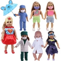 free shipping doll clothes umbrella mask doctor uniform clothes superhero suits fit 18 inch american doll43cm baby doll girl