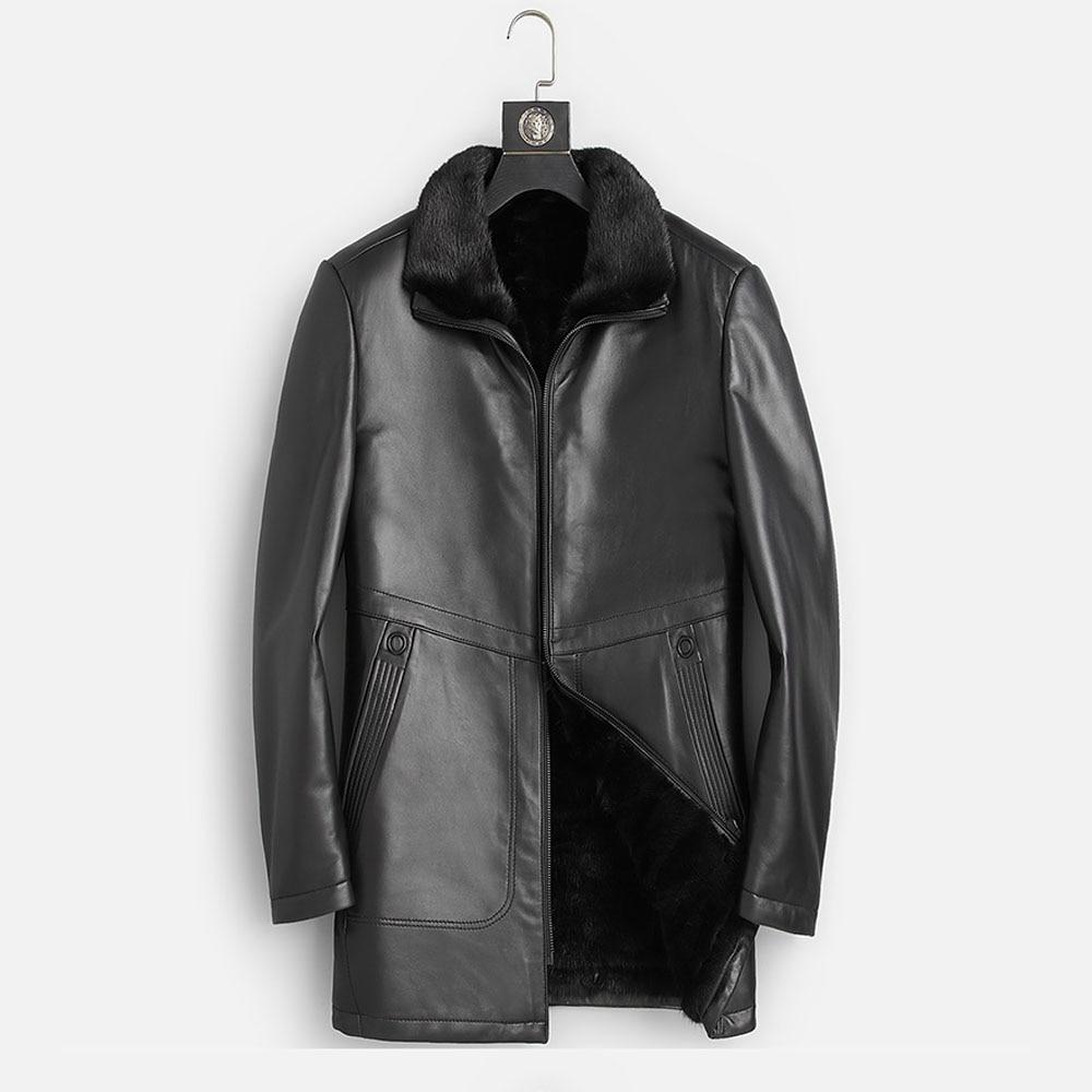 DK New Mink Fur Clothing for Men Winter Warm Black Top Quality Medium Long Genuine Leather Fur Jackets Fashion Fur Coats