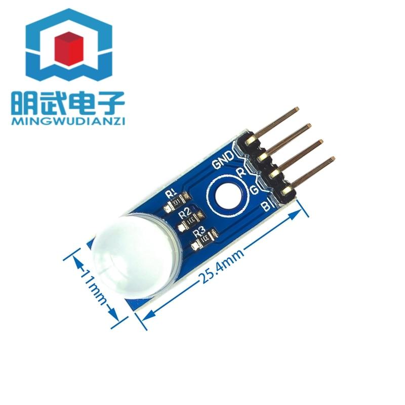Módulo LED RGB tricolor módulo LED 10mm cátodo común niebla 5V fuente de alimentación PCB tamaño 25*11mm