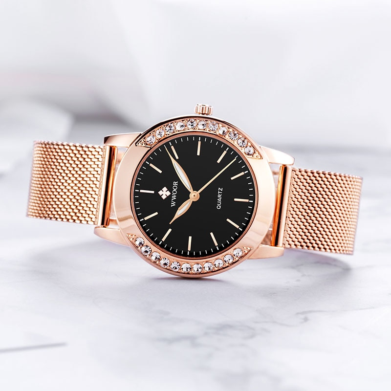 WWOOR New Design Women Watches 2020 Elegant Diamond Dial Quartz Ladies Watch Luxury Rose Gold Mesh Bracelet Clock Zegarek Damski enlarge
