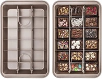 brownie pan with dividers nonstick and heavy duty get 18 precut brownies all at once dishawasher safe