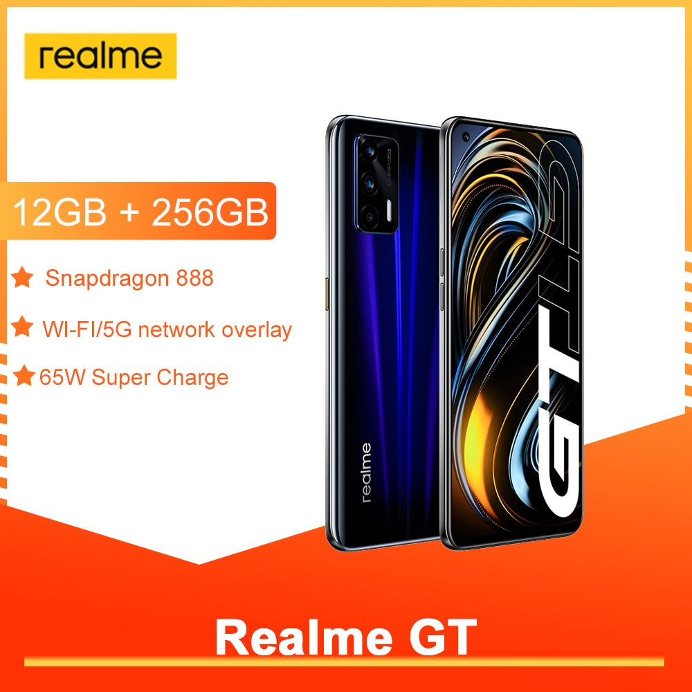 Realme GT 5G смарт-телефон Snapdragon 888 NFC Android 11 120 Гц 6,43 дюйм Super AMOLED Экран 3D Стекло тела 4500 мА/ч, 65 Вт Супер заряда
