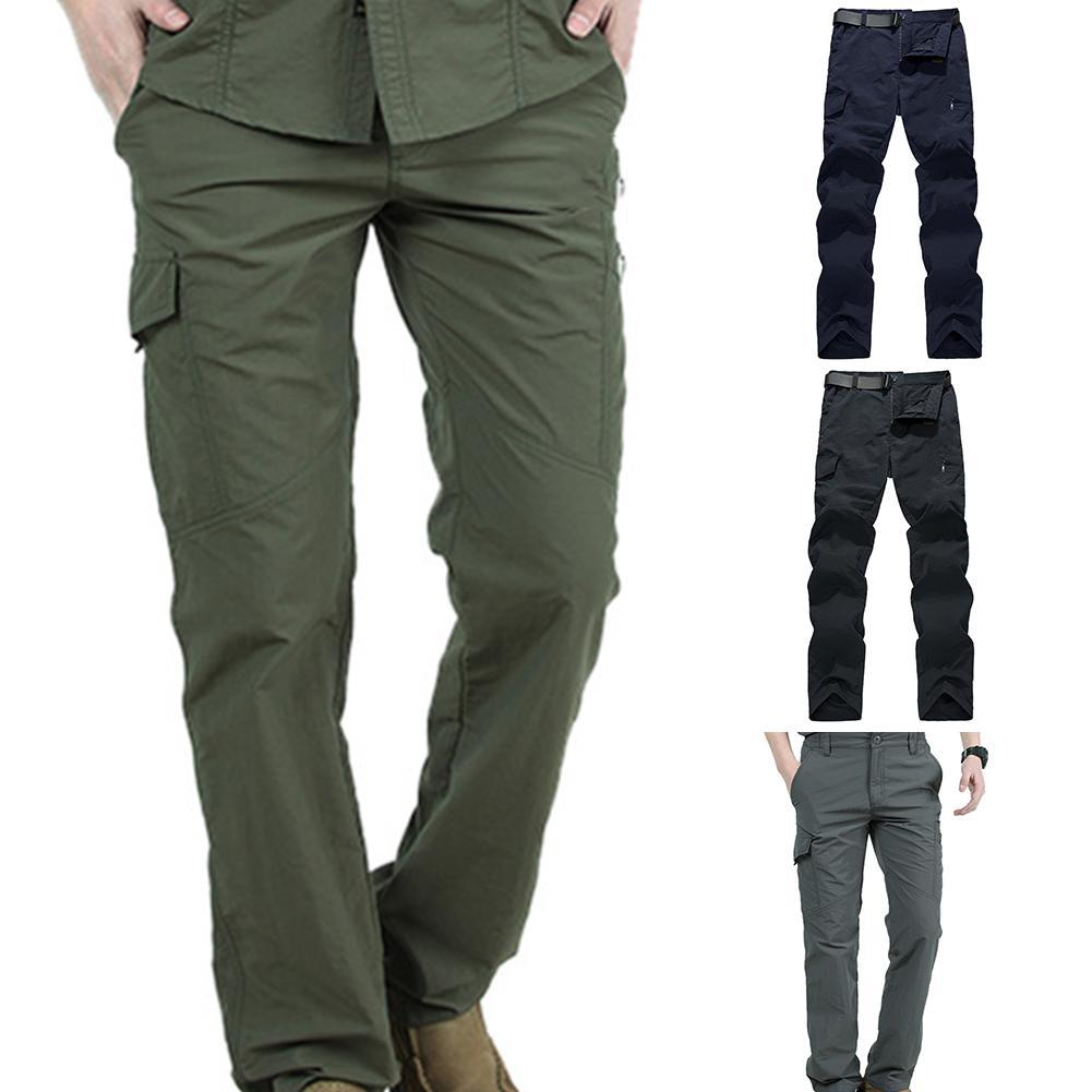 Pantalones de exterior para hombre, para escalada, senderismo, bolsillos múltiples, Color sólido, secado rápido, pantalones tácticos de bolsillo