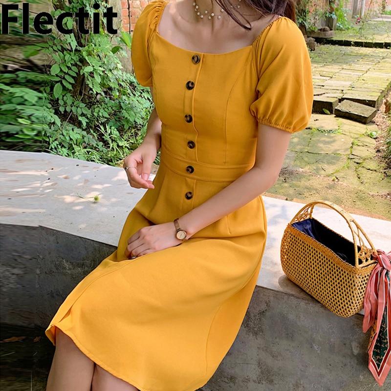 Flectit cuadrado cuello botón frontal Midi Vestido corto Puff manga alta cintura Jengibre amarillo vestido de verano *
