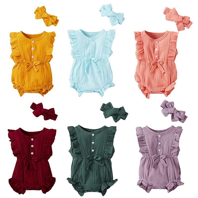 2021 Summer Newborn Baby Girls Short-sleeved Romper Bowknot Floral Cotton One-piece jumpsuit + Hair