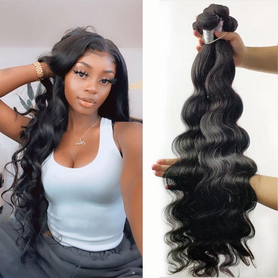Fashow 28 30 32 34 36 40 Inch Indian Hair Body Wave Human Hair Bundles 100% Natural Color Remy Human Hair Weave Bundles