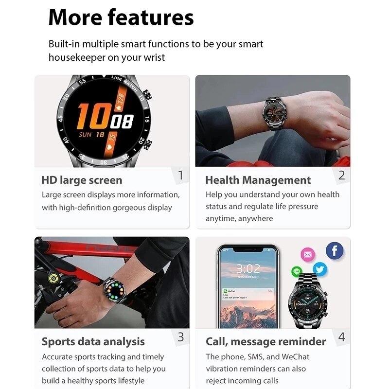 Купить с кэшбэком LIGE Smart Watch Men Touch Screen Watch Heart Rate Blood Pressure Monitoring Information Reminder Bluetooth Call Man Smartwatch