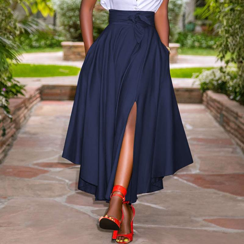 Модные ассиметричные юбки, праздничные трапециевидные юбки на молнии с высокой талией, женские летние длинные юбки, винтажные однотонные п...