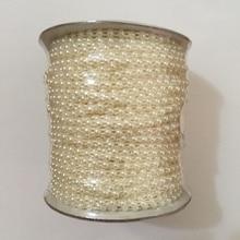 Garniture plastique demi-ronde à dos plat   Garniture en perles 4mm, ligne de garniture en perles, chaîne en perles, cousue, 50 mètres/rouleau