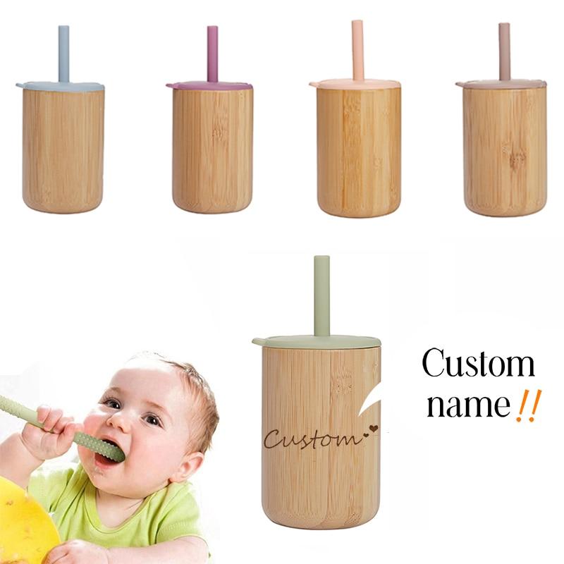 1 шт., деревянная бамбуковая чашка для воды, с именем на заказ