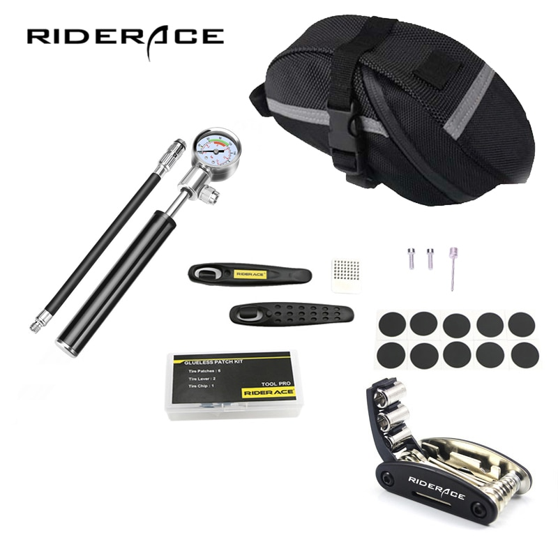Fietsband Reparatie Tools Kits Hand Luchtpomp Slang Universal Cycling Bike Zadeltas Presta Schrader Inner Tire Patches Hendel set