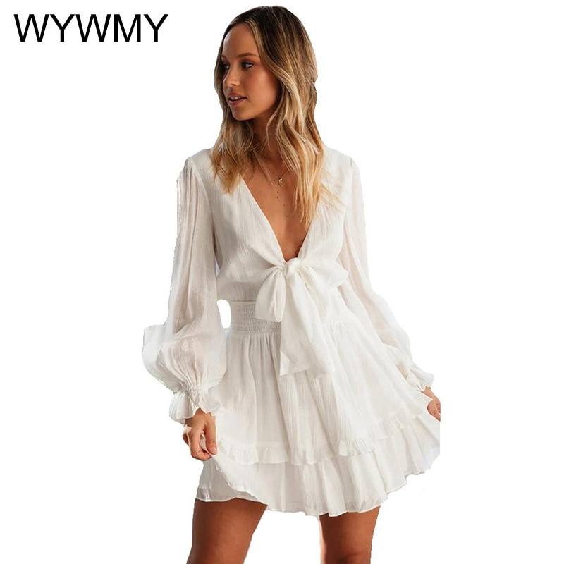 white lace details round neck short sleeves mini dress with lined White Bowknot Ruffle Beach Dress Spring Summer Lantern Sleeve Chic Short Mini Dress V Neck Lace Up 2021 New Sheer Dress Vestidos