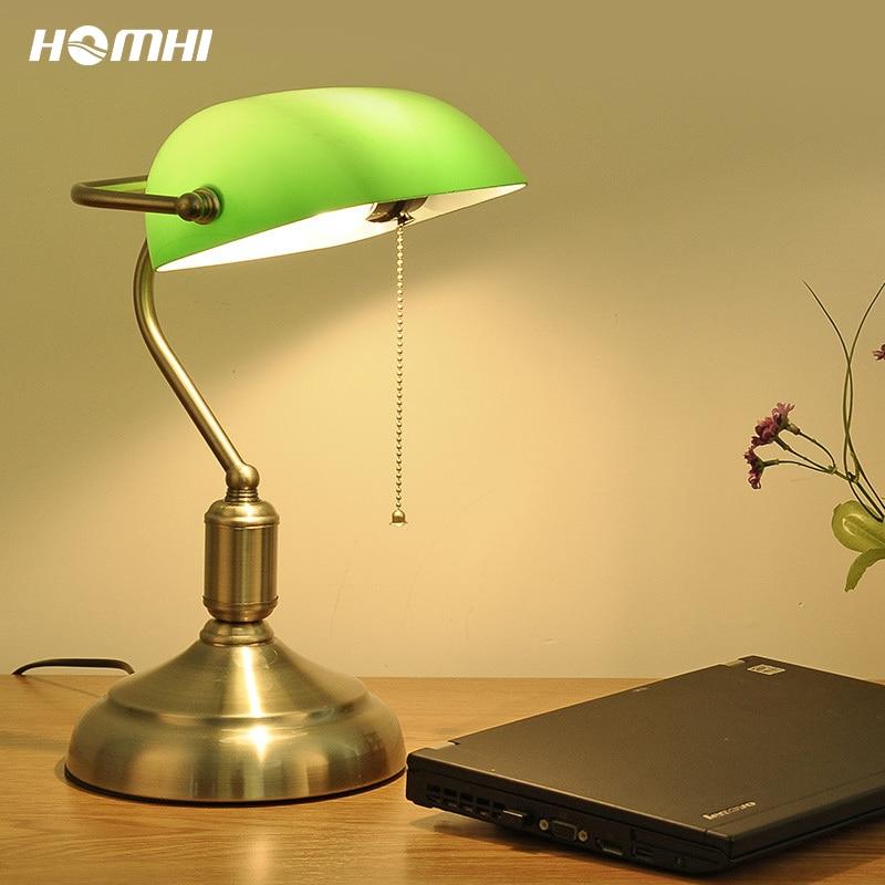 خمر الأخضر الأبيض مصرفي ريفي الجدول مصباح لامبارا مصباح ليد الزجاج الصناعي الرجعية أباجورة مكتب نوم القراءة HDL-005