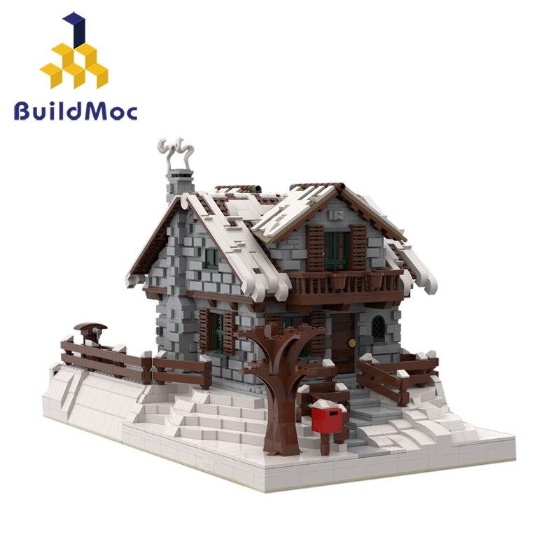 Buildmoc 38793 クリエーター市村冬の家シャレーネージュリゾートクリスマス建設ビルディングブロック子供のおもちゃギフト