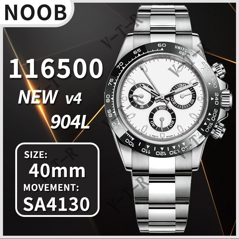 Men's Automatic Mechanical Watch Daytona 116500 Noob V4 904L Stainless Steel 4130 Movement 1:1 Best