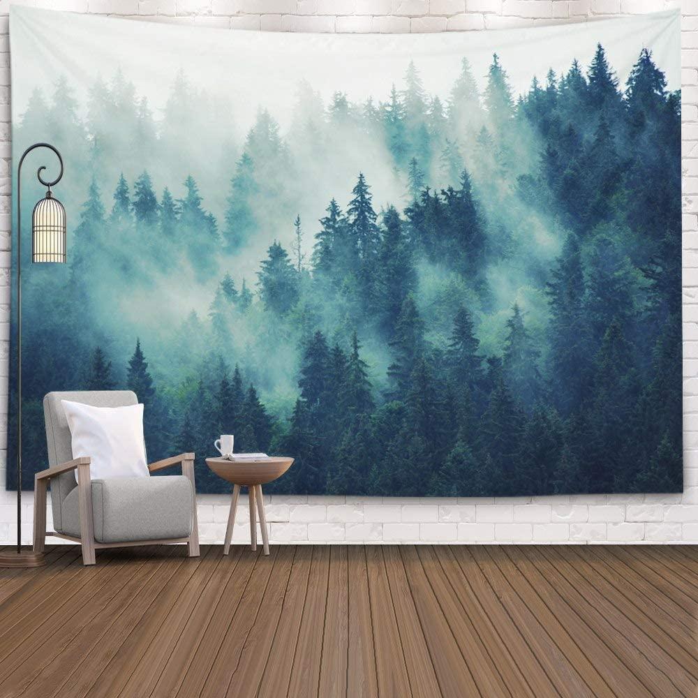 Серый Туманный лес гобелен настенный гобелены Декор Гостиная Спальня домашний фон окрашенный акварельным пейзажем
