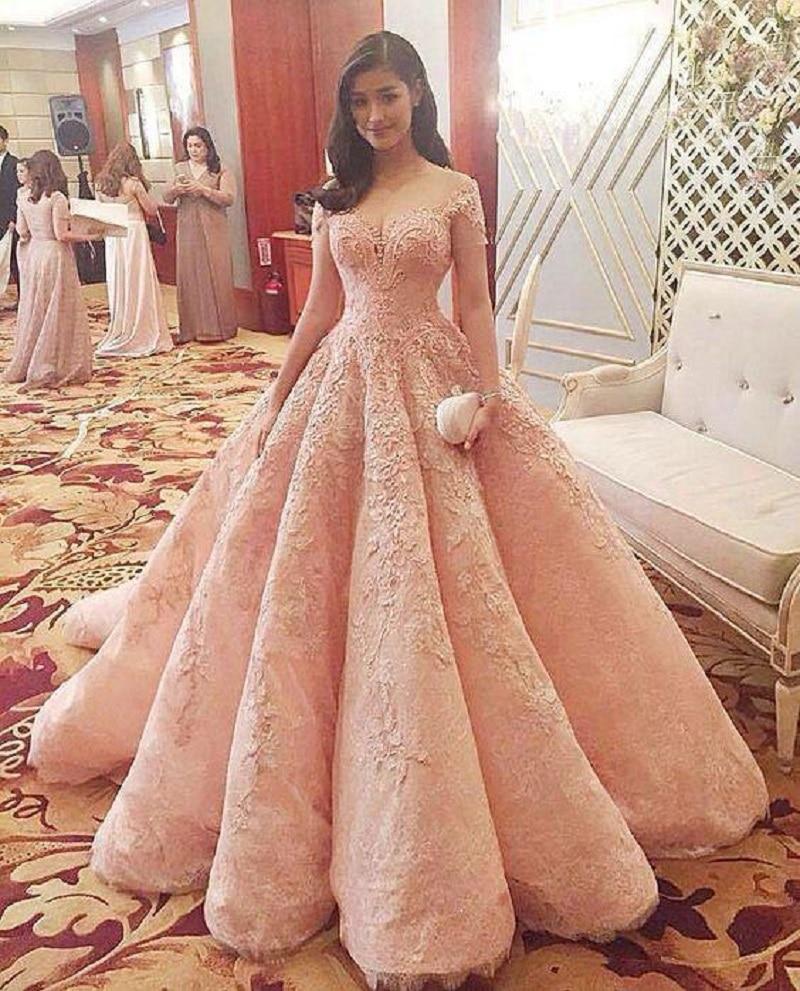 New Blush Luxury Prom Dresses Vestidos De Fiesta Sheer Neckline Off Shoulder Lace Appliques Beaded A-line Quinceanera Dress
