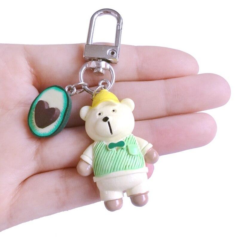 Original New Cute Teddy Bear Key Chain On Bag Heart Avocado Charm Couple Keychain Women Lover Trinket Jewelry Christmas Gift