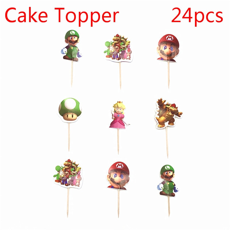 24pcs Super Mari Cartoon man Party Cupcake Cake Toppers Picks Kids Birthday Party Supplies Wedding Decorations Cake Cup