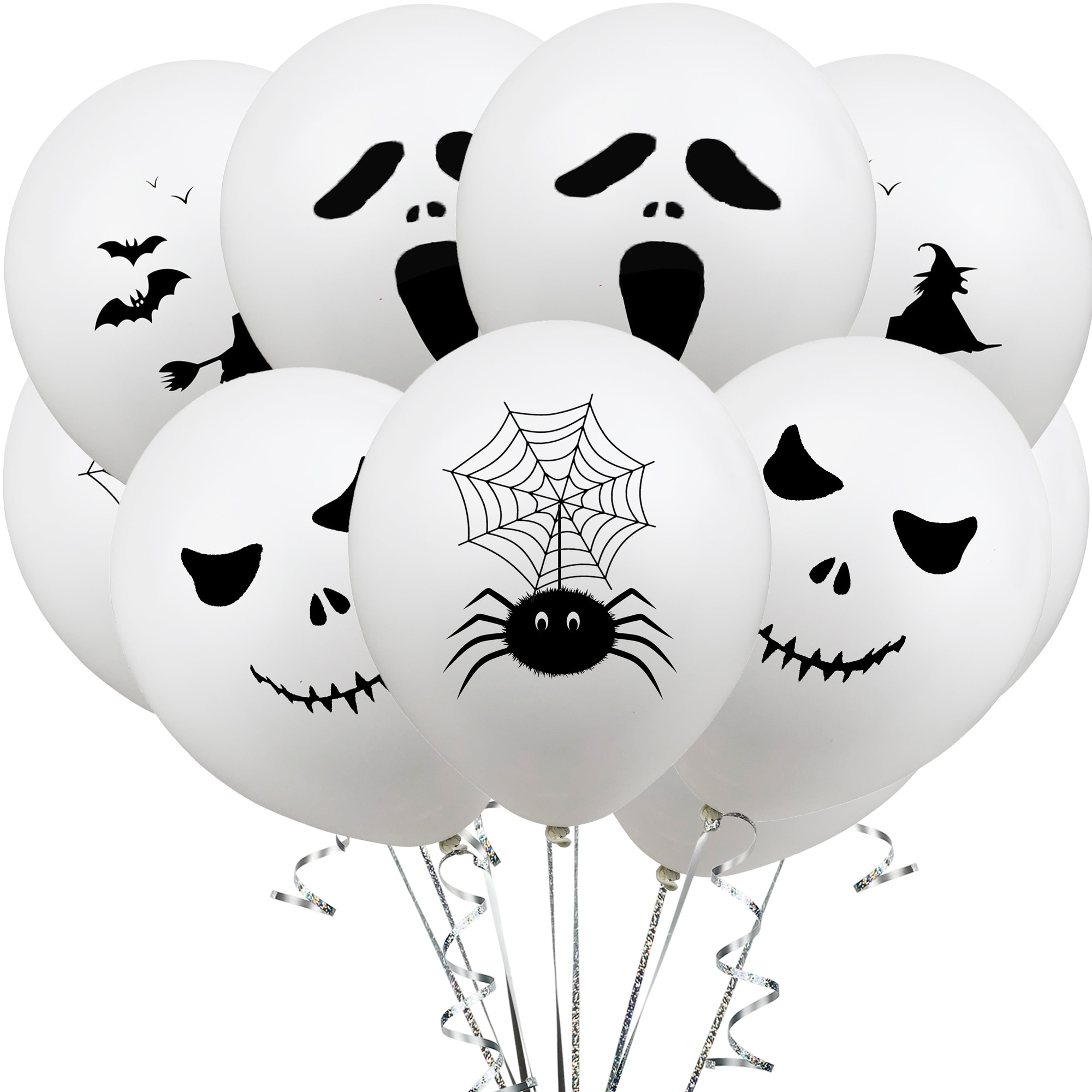 Amawill 12inch Halloween White Latex Balloons Spider Ghost Witch Air Globos Horror Theme Birthday Party Decoration Kids 7D